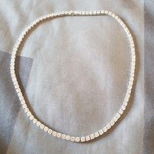 13d2b2739f186 Swarovski Elements crystal silver tennis necklace